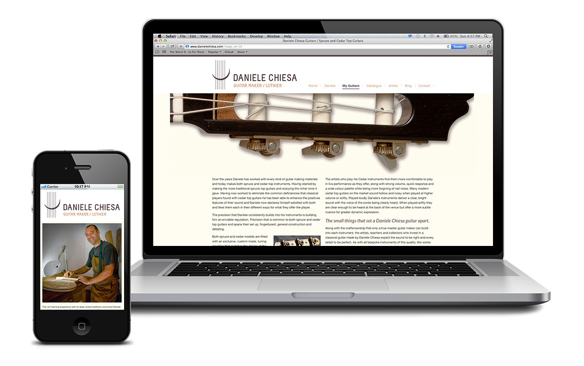 Website for Daniele Chiesa Luthier based in Competa, Spain