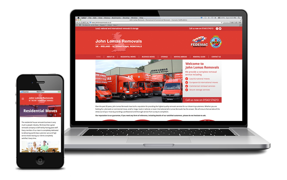 Website for John Lomas Removals, based in Cannock