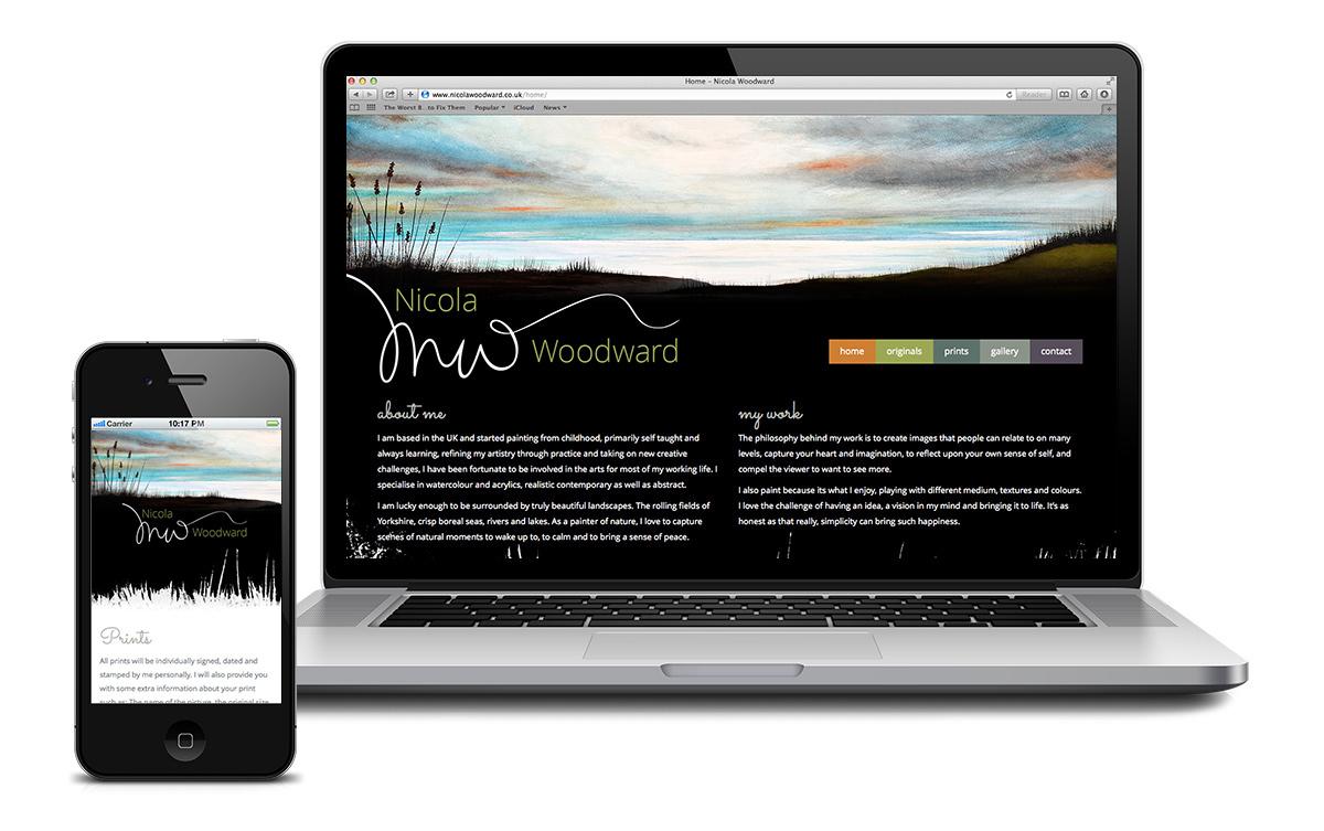 Website design for local Kirekella based artist Nicola Woodward