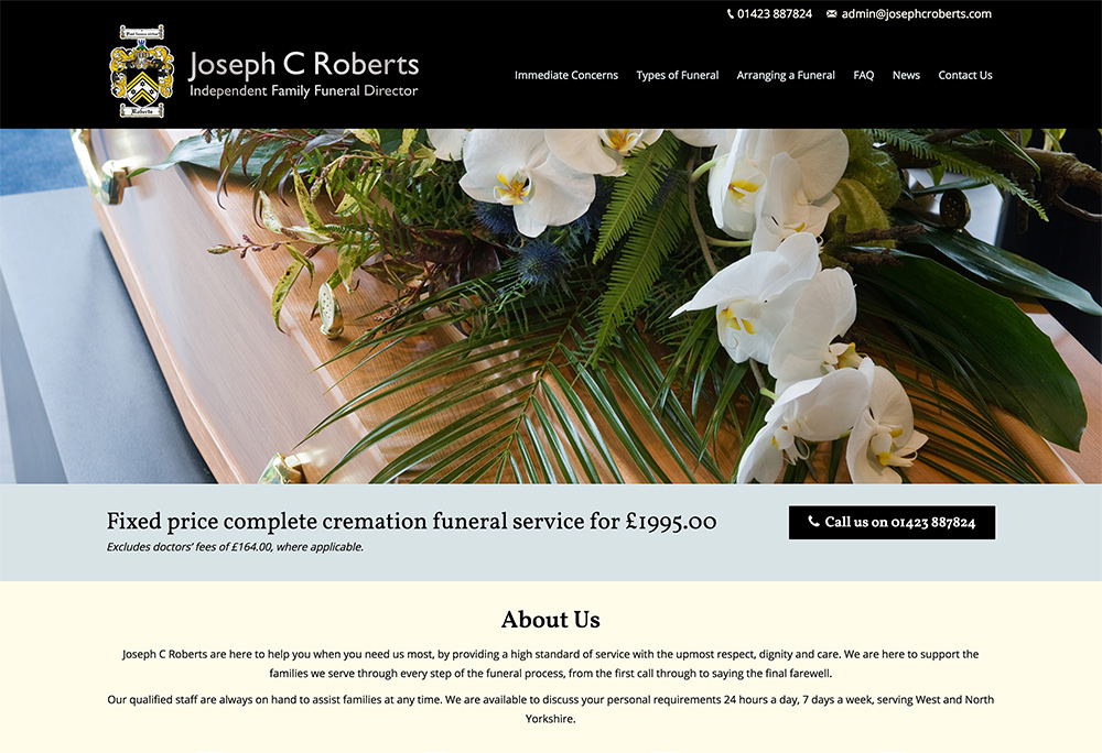 Yorkshire website design for funeral directors