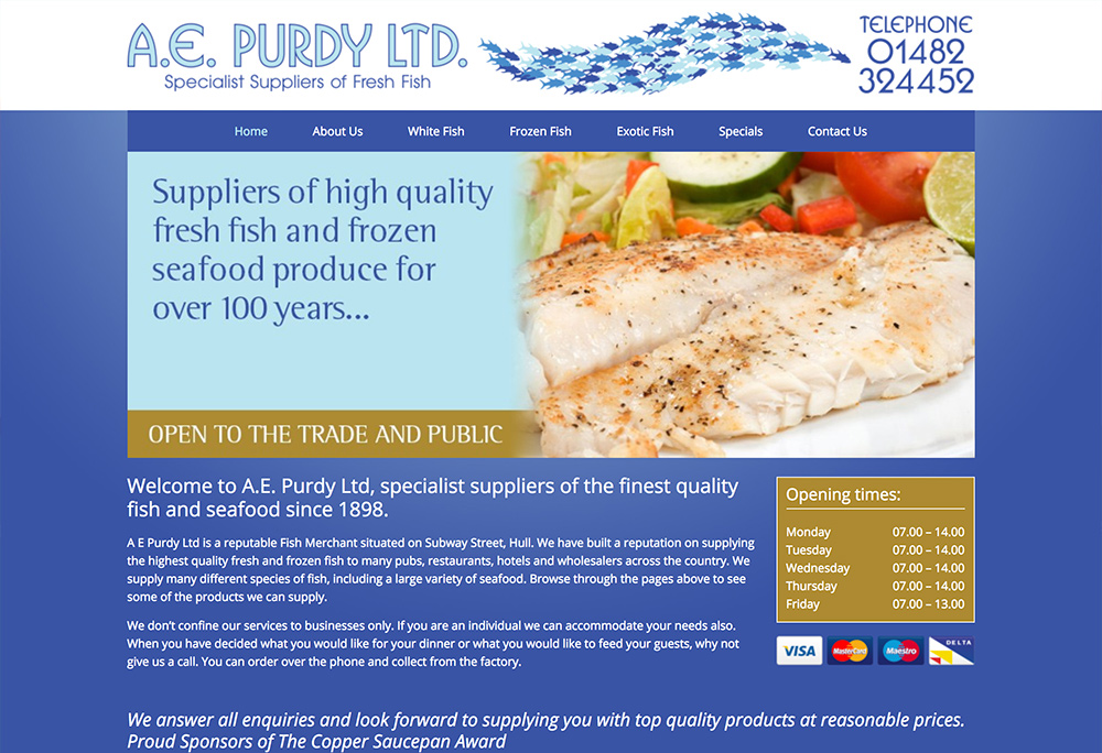 Website design for Hull based Fish Suppliers