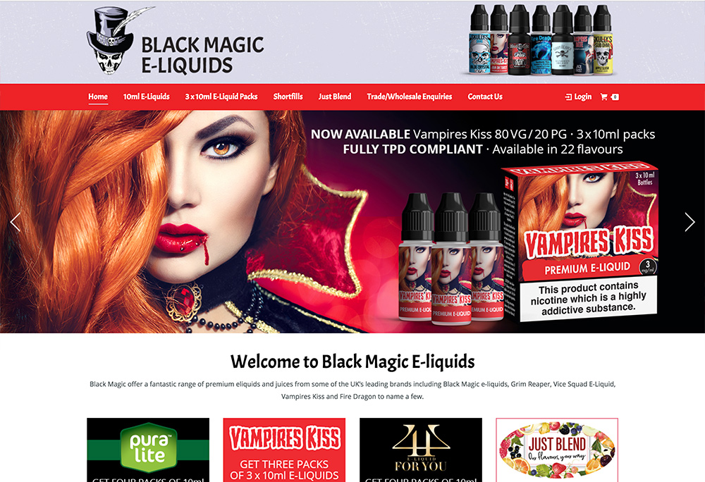 Website design for Hull based E-liquid manufacturer