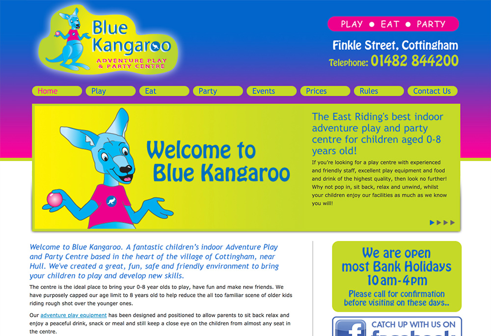 Website design for East Yorkshire based soft play centre.