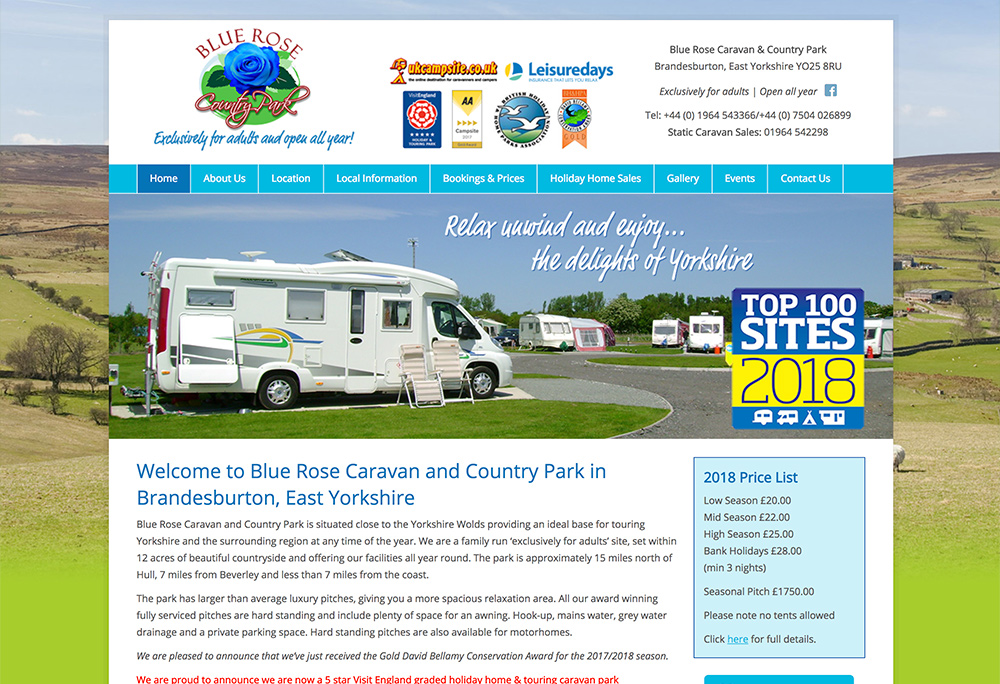 Website design for award winning East Yorkshire based County Park
