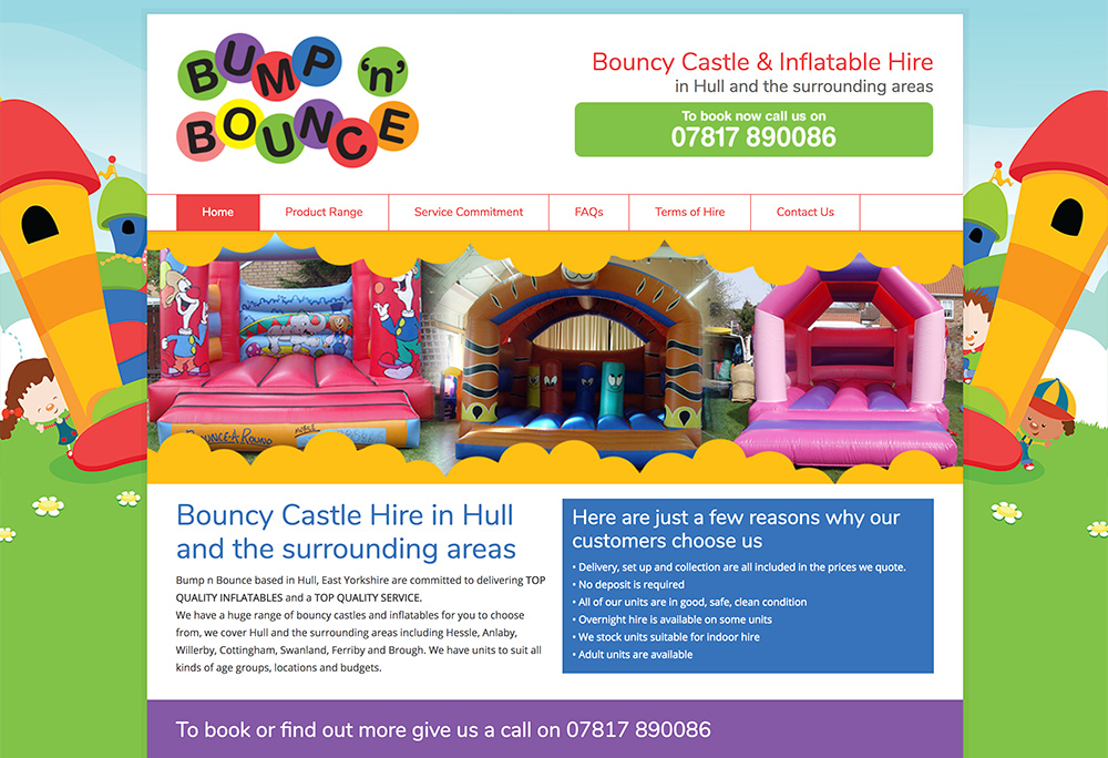 Website design for Hessle based Bouncy Castle Hire company
