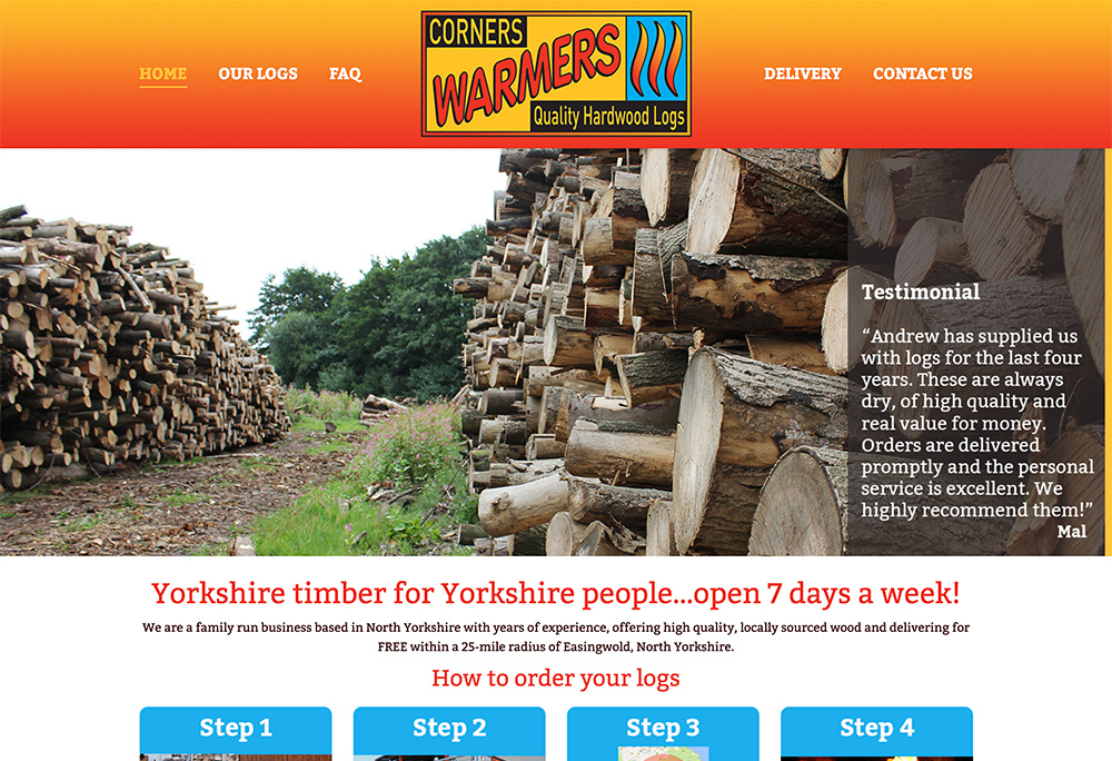 Website design for Yorkshire based hardwood log supplier