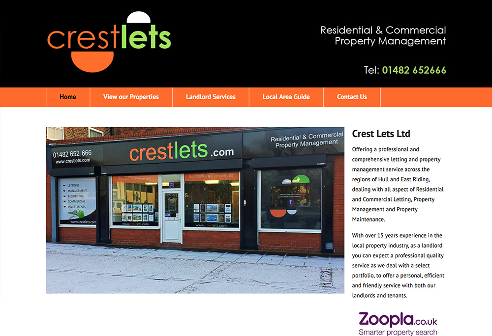 Website design for Hull based property lettings company