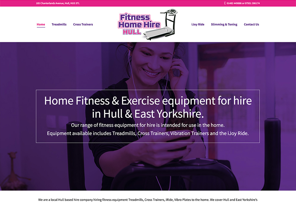 Website design for Hull based Home Fitness Equipment hire company