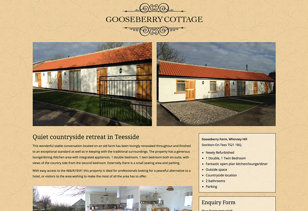 Single page website design for holiday cottage