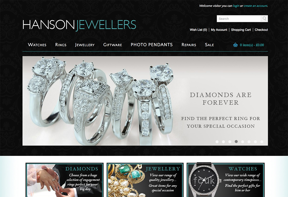 Website design for Hull based Jewellers.