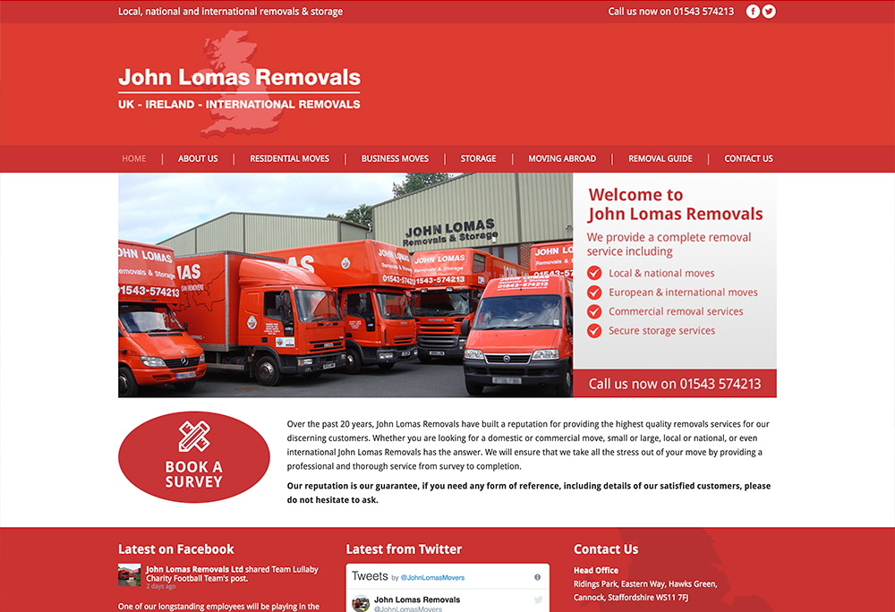 Website design for Cannock based Removal Company