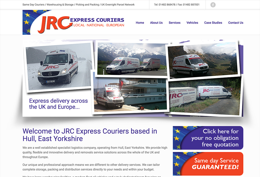 Website design for East Yorkshire based express couriers.