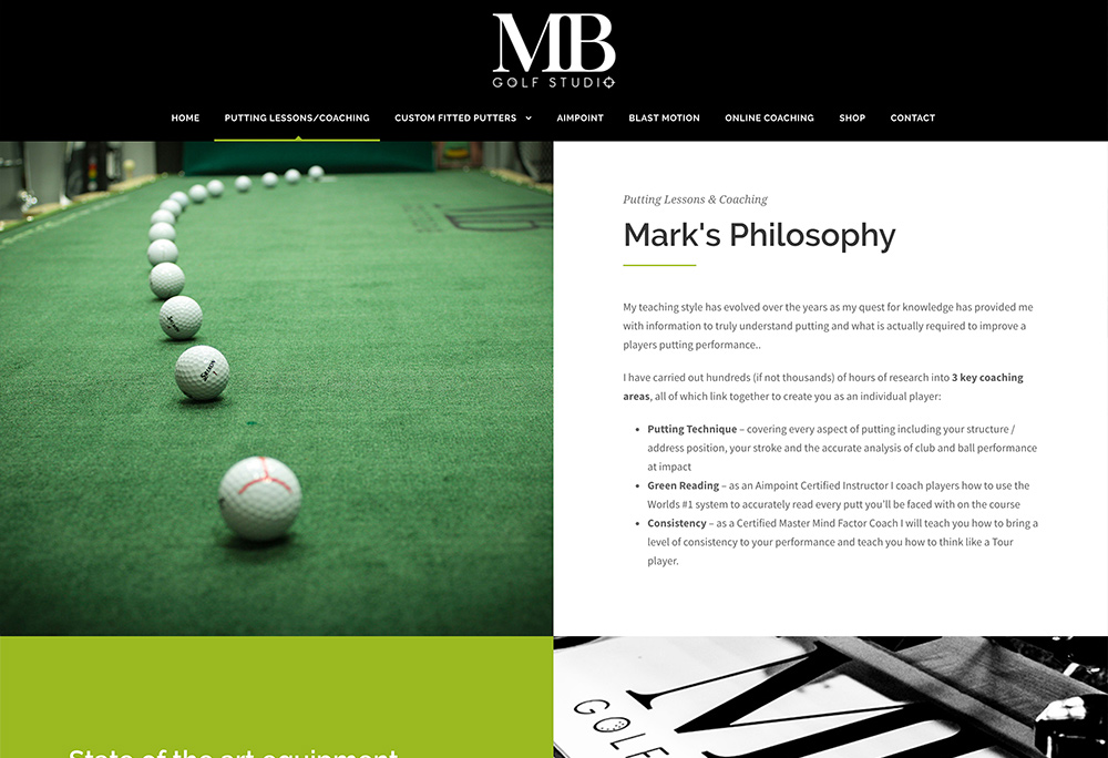 Website design for East Yorkshire based golf putting instructor