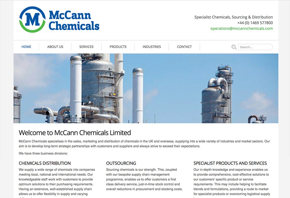 Website design for Lincolnshire based specialist chemicals supplier.