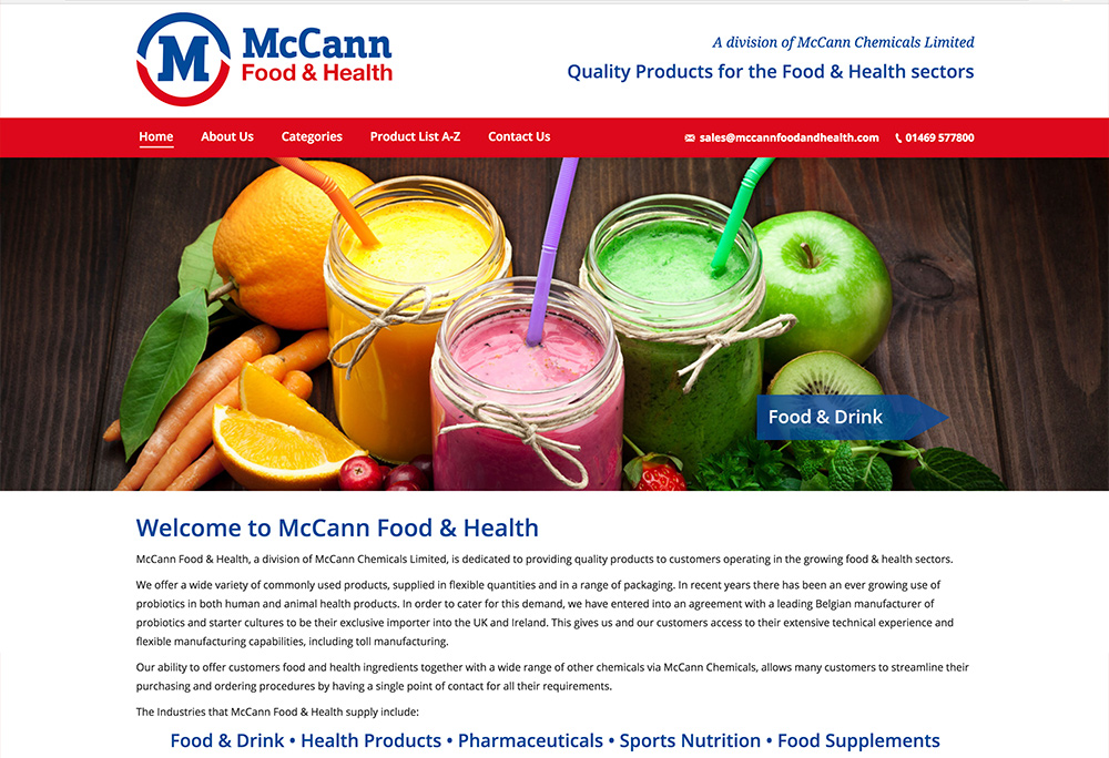 Website design for Melton based McCann Food & Health