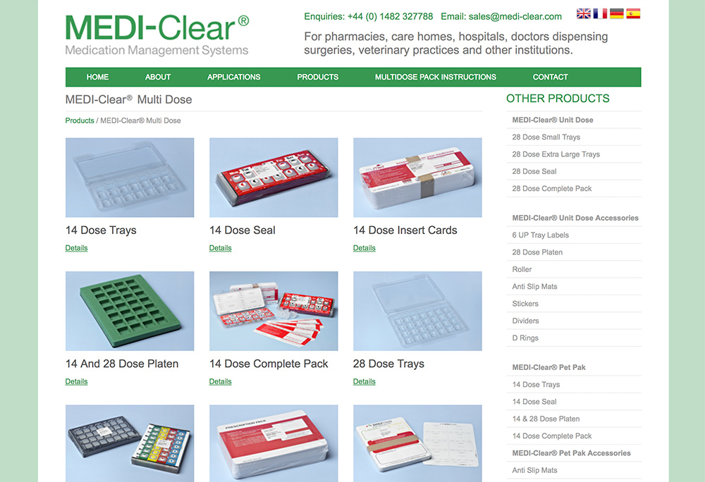 Website design for Hull based medical print products supplier.