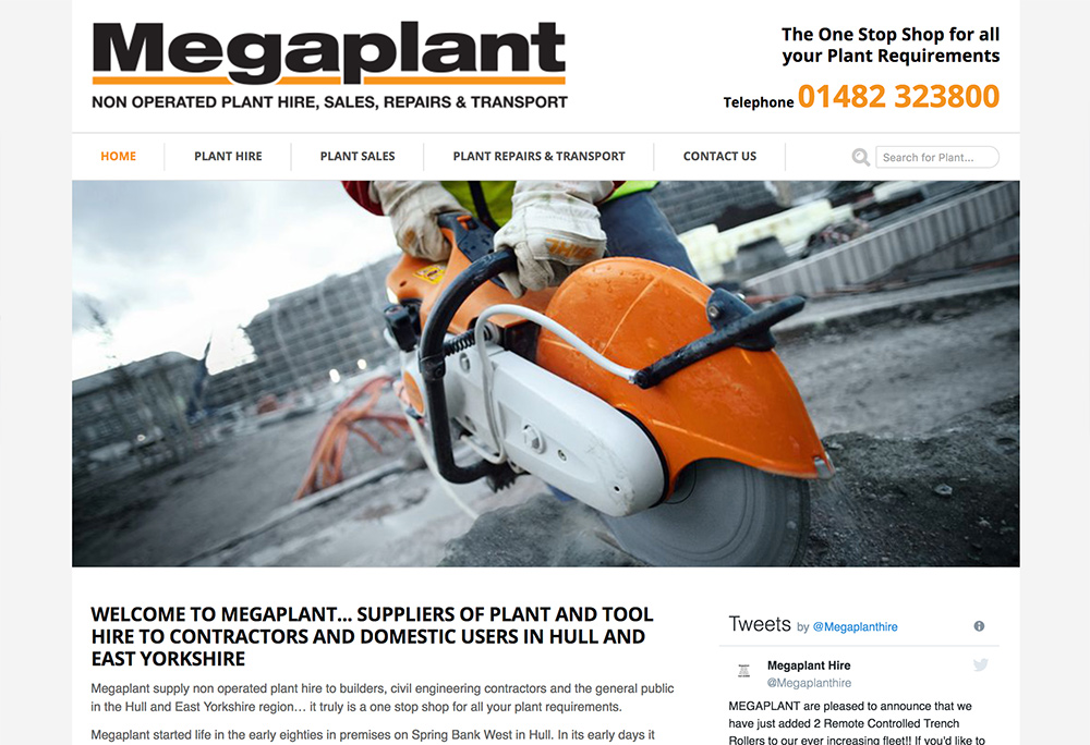 Website design for Hull based plant hire company