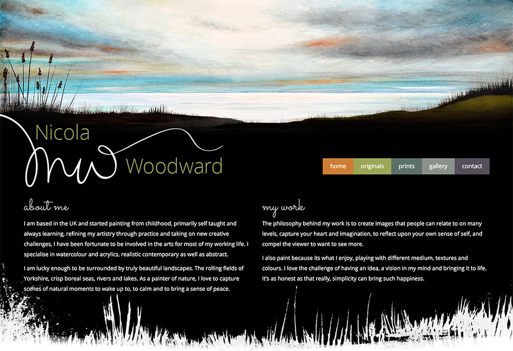 Website design for East Yorkshire based artist