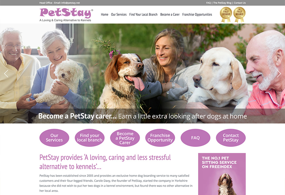 Website design for national Home Dog Boarding franchise