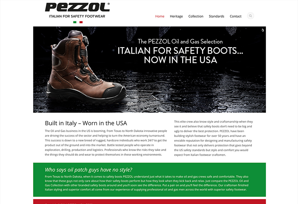 Website design for Italian Safety Footwear company