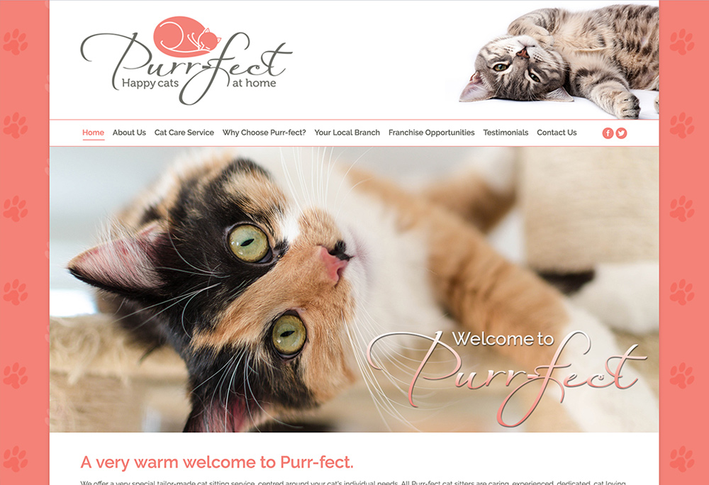 Website design for Bolton based Cat Sitting Service