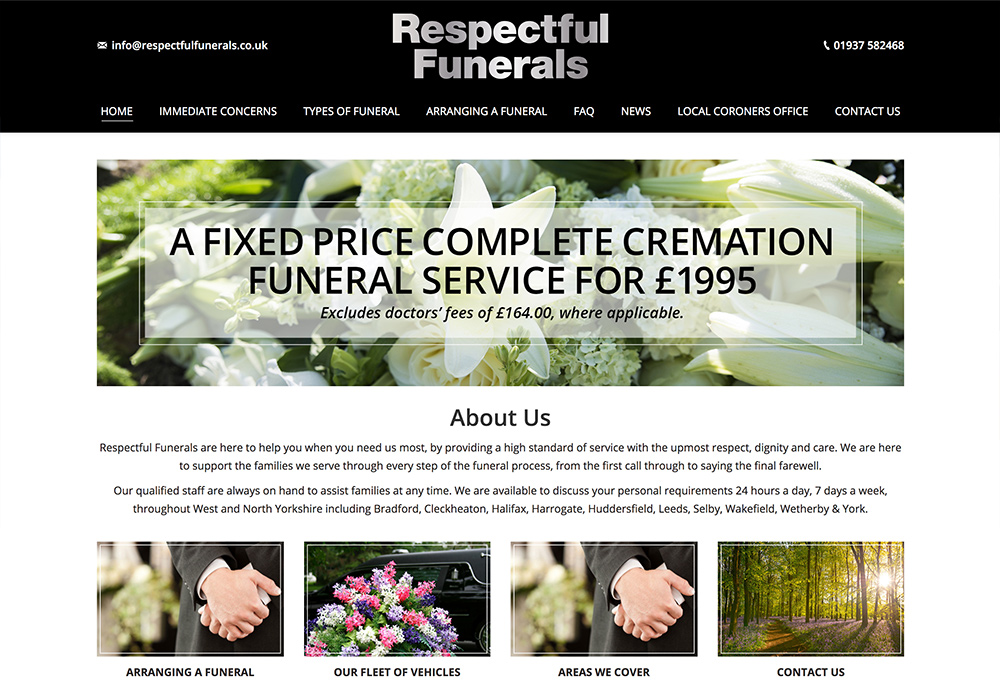 Website design for Yorkshire based funeral directors