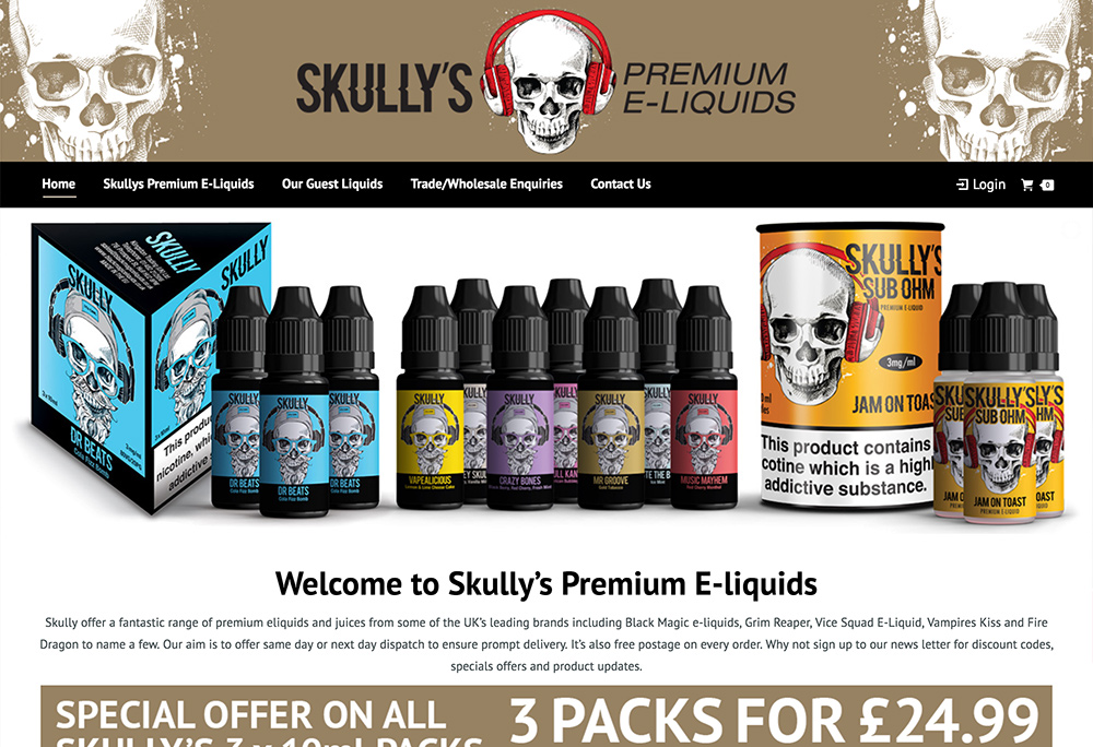 Website design for online e-liquid retailer