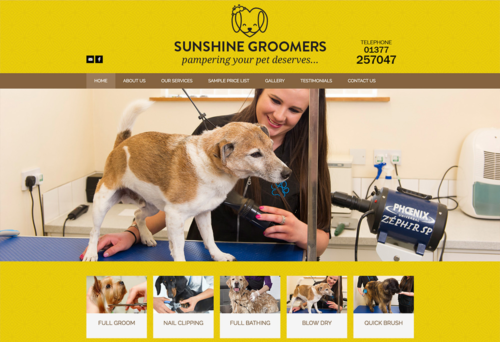 Website design for Sunshine Groomers