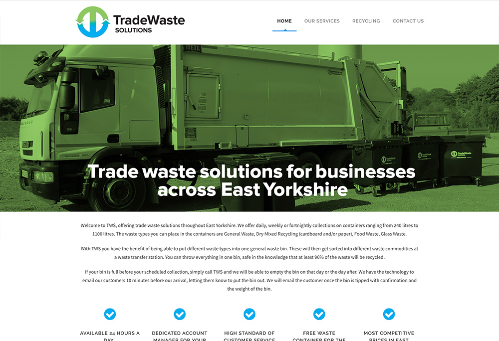 Website design for East Yorkshire based Trade Waste Solutions business