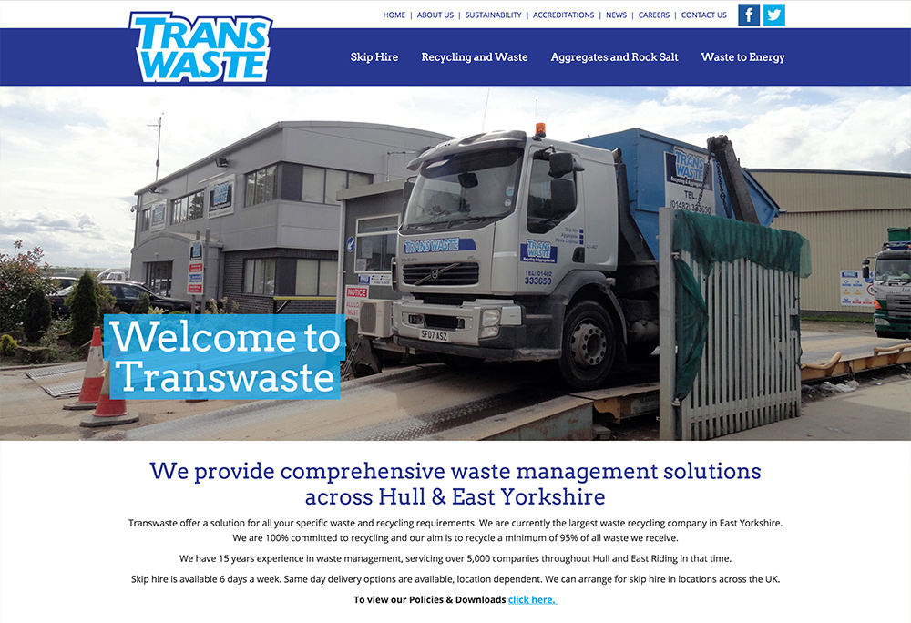 Website design for East Yorkshire based Waste Management company
