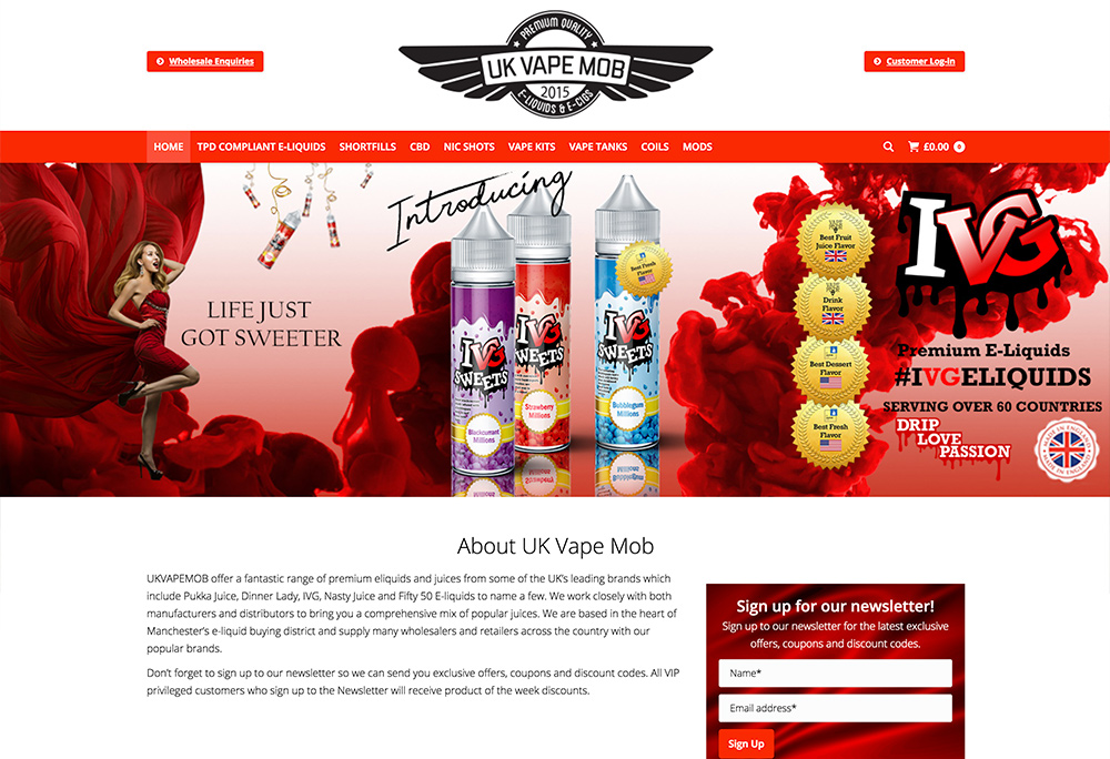 Website design for Manchester based E-liquid Wholesaler