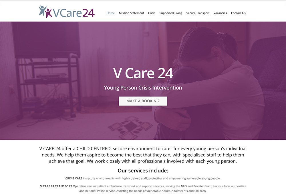 Website design for Yorkshire based V Care 24