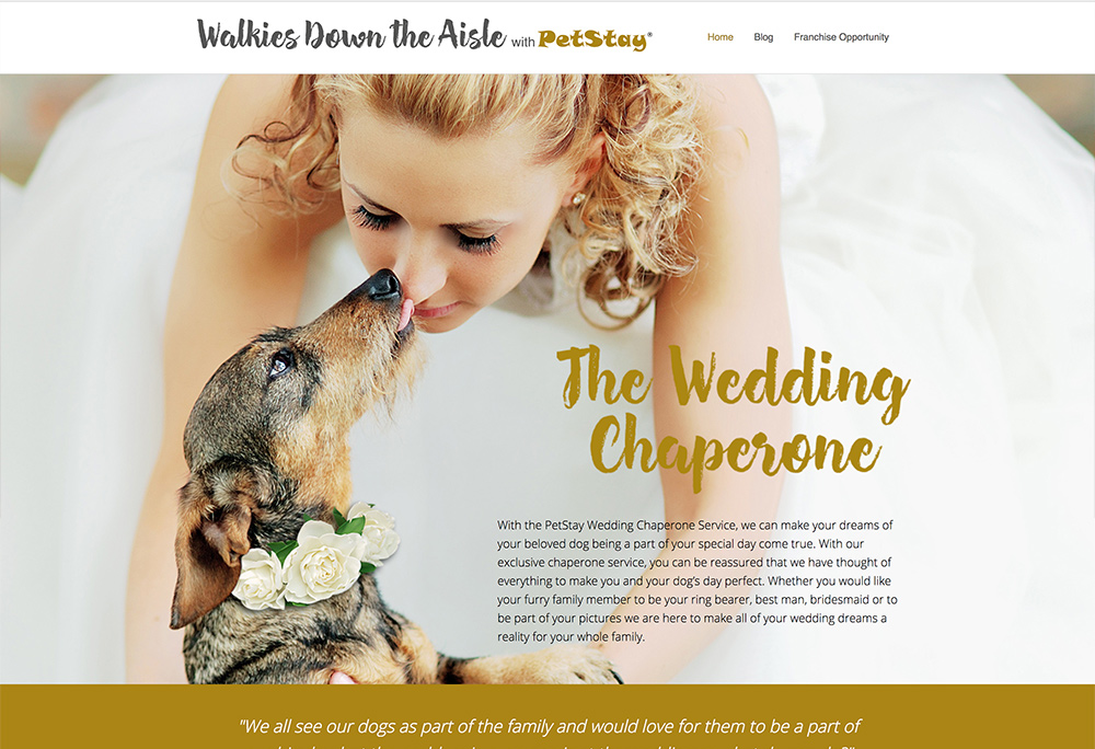 Website design for Wedding Chaparone service for dogs