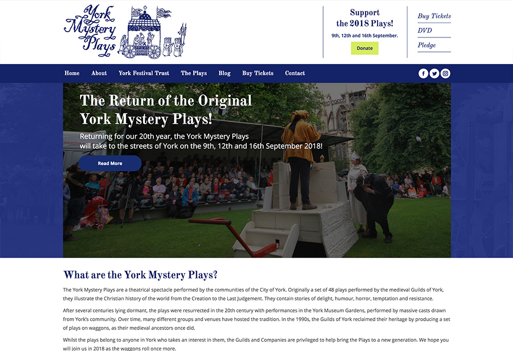 Website design for York Mystery Plays