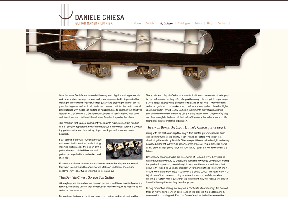 Website design for Spanish Luthier
