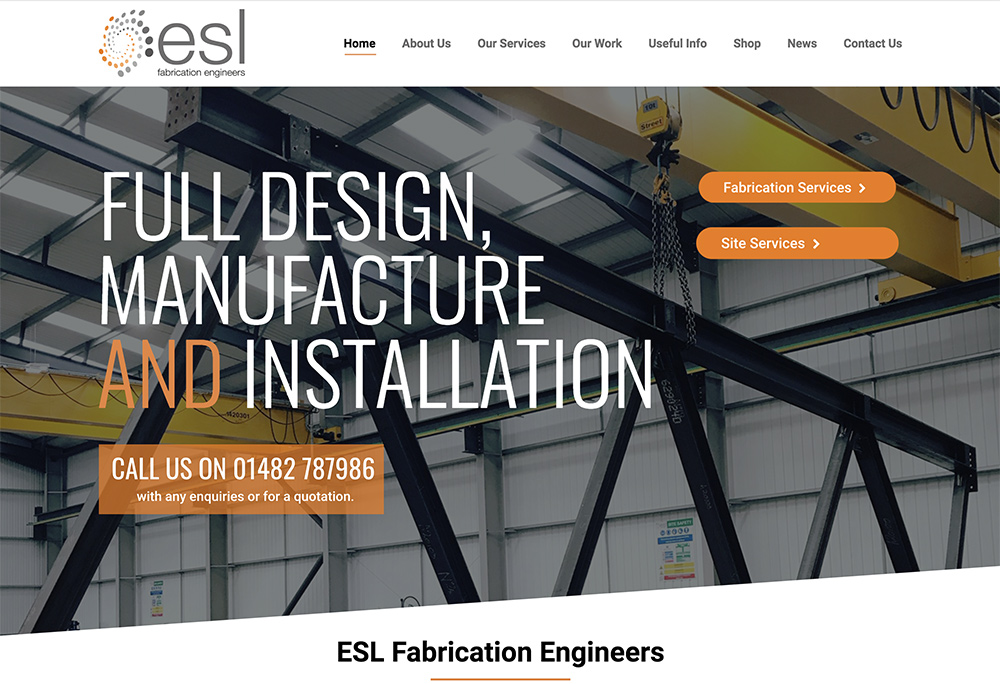 ESL Fabrication Engineers - Web Design Hull