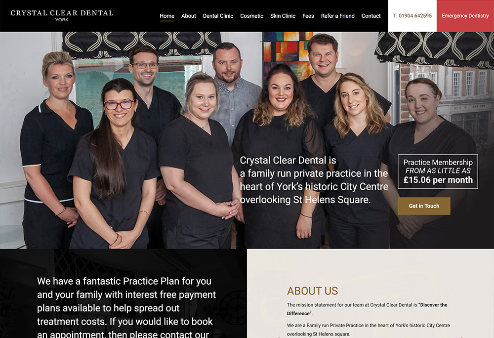 Website design for York based dentist