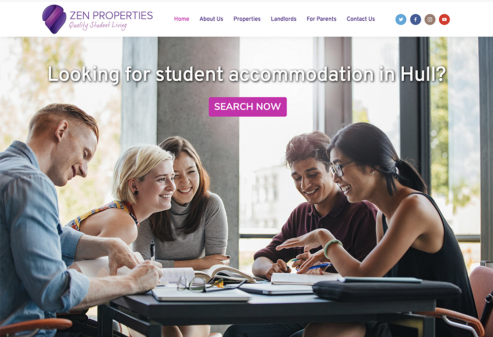 Website design for hull based student accommodation business